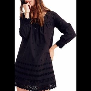 Madewell Black Eyelet Trim Shift Dress